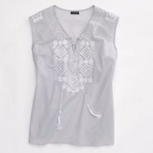 J. Crew Flower Mosaic Embroidered Tunic Gray